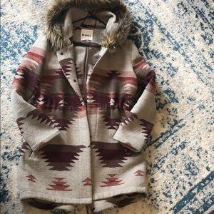 BB Dakota - Aztec Faux Fur Rimmed Hooded Jacket